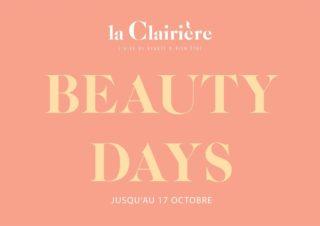 PROLONGEMENT BEAUTY DAYS à la Clairière jusqu'au 21 octobre minuit !  Profitez de remises en beauté offertes sur place et de - 20% sur tous vos soins visages avec les BEAUTY DAYS.  Tous les soins visage PHYTS et le soin Aroma la Clairière à -20% jusqu'au dimanche 17 octobre + des remises en beauté (séances de maquillage et conseils beauté) de 15 minutes sont offertes sur place.  Prise des rendez-vous pour profiter des offres par téléphone au 01 48 44 47 30.  * offre non cumulable et valable pour toute prise de rendez-vous par téléphone pour un soin visage d'une valeur de plus de 60€ entre le 12 octobre et le 17 octobre minuit. Offre non accessible en ligne.